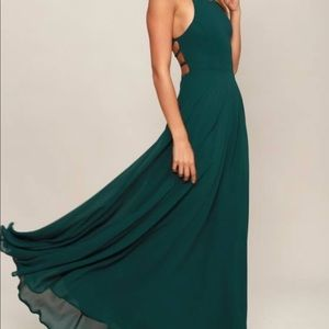 Straps to be Here Forest Green Maxi Dress